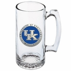 Kentucky Wildcats Logo Blue Pewter Accent Glass Super Beer Mug