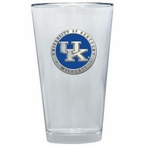 Kentucky Wildcats Logo Blue Pewter Accent Pint Beer Glasses, Set of 2