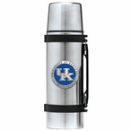 Kentucky Wildcats Logo Blue Pewter Accent Stainless Steel Thermos