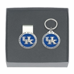 Kentucky Wildcats Logo Blue Pewter Money Clip & Key Chain Gift Set
