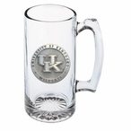 Kentucky Wildcats Logo Pewter Accent Glass Super Beer Mug