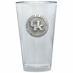 Kentucky Wildcats Logo Pewter Accent Pint Beer Glasses, Set of 2