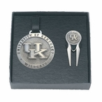 Kentucky Wildcats Logo Pewter Bag Tag & Repair Tool Golf Set