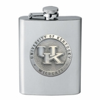 Kentucky Wildcats Logo Stainless Steel Flask with Pewter Accent