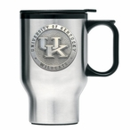 Kentucky Wildcats Logo Stainless Steel Travel Mug with Handle & Pewter
