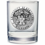 Kentucky Wildcats Pewter Accent Double Old Fashion Glasses, Set of 2