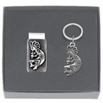 Kokopelli Money Clip & Key Chain Gift Set with Pewter Accents