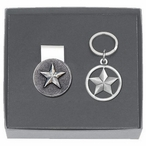 Lone Star Money Clip & Key Chain Gift Set with Pewter Accents