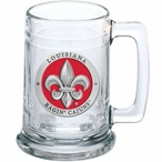 Louisiana at Lafayette Ragin' Cajuns Red Pewter Accent Glass Beer Mug