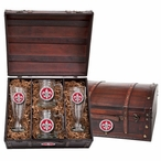 Louisiana at Lafayette Ragin' Cajuns Red Pewter Beer Chest Box Set