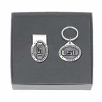 Louisiana State Tigers Pewter Accent Money Clip & Key Chain Gift Set