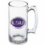 Louisiana State Tigers Purple Pewter Accent Glass Super Beer Mug