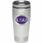 Louisiana State Tigers Purple Stainless Steel Travel Mug with Pewter