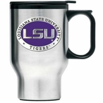Louisiana State Tigers Purple Travel Mug with Handle & Pewter Accent