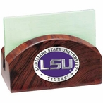 Louisiana State Tigers Purple Wood Business Card Holder with Pewter
