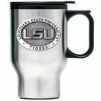 Louisiana State Tigers Stainless Steel Travel Mug with Handle & Pewter