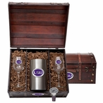 Louisiana State University Tigers Purple Pewter Accent Wine Chest Set