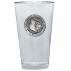 Louisville Cardinals Pewter Accent Pint Beer Glasses, Set of 2