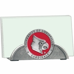 Louisville Cardinals Red Metal Business Card Holder with Pewter Accent