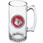 Louisville Cardinals Red Pewter Accent Glass Super Beer Mug