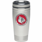 Louisville Cardinals Red Stainless Steel Travel Mug with Pewter Accent