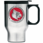 Louisville Cardinals Red Travel Mug with Handle & Pewter Accent