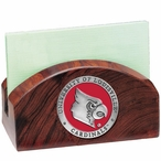 Louisville Cardinals Red Wood Business Card Holder with Pewter Accent