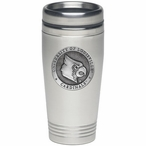 Louisville Cardinals Stainless Steel Travel Mug with Pewter Accent