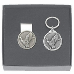 Mallard Duck Money Clip & Key Chain Gift Set with Pewter Accents