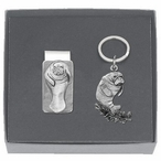 Manatee Money Clip & Key Chain Gift Set with Pewter Accents