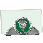 Marshall Thundering Herd Green Metal Business Card Holder with Pewter