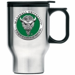 Marshall Thundering Herd Green Travel Mug with Handle & Pewter Accent