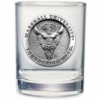 Marshall Thundering Herd Pewter Double Old Fashion Glasses, Set of 2