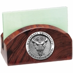 Marshall Thundering Herd Wood Business Card Holder with Pewter Accent