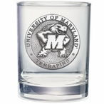 Maryland Terrapins Pewter Accent Double Old Fashion Glasses, Set of 2