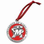 Maryland Terrapins Red Pewter Accent Ornaments, Set of 2