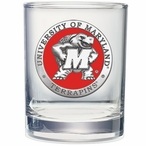 Maryland Terrapins Red Pewter Double Old Fashion Glasses, Set of 2