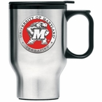 Maryland Terrapins Red Stainless Steel Travel Mug with Handle & Pewter