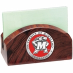 Maryland Terrapins Red Wood Business Card Holder with Pewter Accent