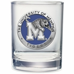 Memphis Tigers Blue Pewter Accent Double Old Fashion Glasses, Set of 2