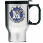 Memphis Tigers Blue Stainless Steel Travel Mug with Handle & Pewter