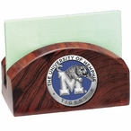 Memphis Tigers Blue Wood Business Card Holder with Pewter Accent
