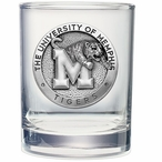 Memphis Tigers Pewter Accent Double Old Fashion Glasses, Set of 2
