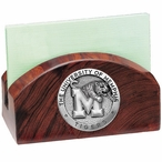 Memphis Tigers Wood Business Card Holder with Pewter Accent