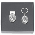 Mermaid Money Clip & Key Chain Gift Set with Pewter Accents
