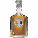Miami Hurricanes Orange Capitol Glass Decanter with Pewter Accents