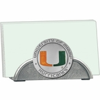 Miami Hurricanes Orange Metal Business Card Holder with Pewter Accent