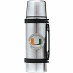Miami Hurricanes Orange Pewter Accent Stainless Steel Thermos