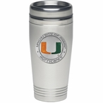 Miami Hurricanes Orange Stainless Steel Travel Mug with Pewter Accent