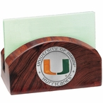Miami Hurricanes Orange Wood Business Card Holder with Pewter Accent